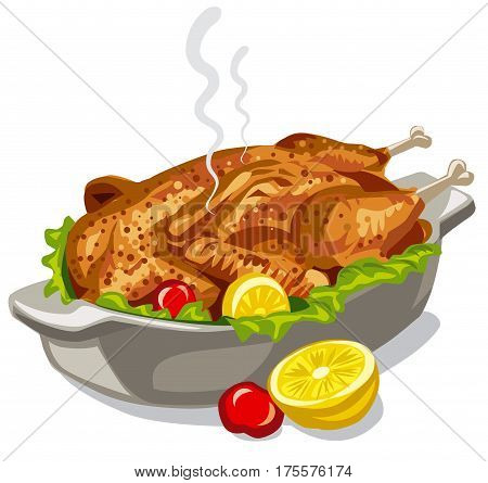 illustration of roasted baked chicken with vegetables