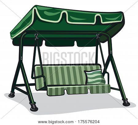 green teterboard swing for relax in garden