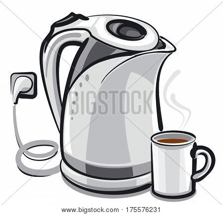 illustration of the tea pot and cup