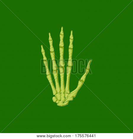 flat shading style icon on green background wrist bone