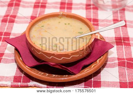 Veal Cream Soup Served On The Table