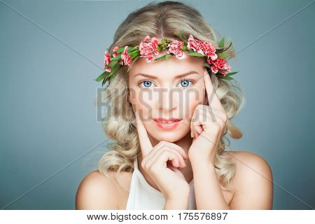 Beautiful Woman Spa Model with Healthy Skin. Spa Beauty Antiage and Cosmetology Concept