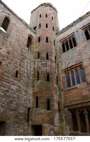 A view of one of the corner towers in Linlithgow palace