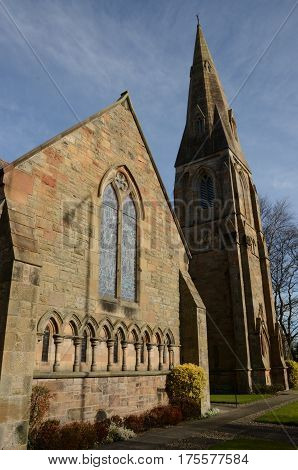 A view of a church with spire in Linlithgow