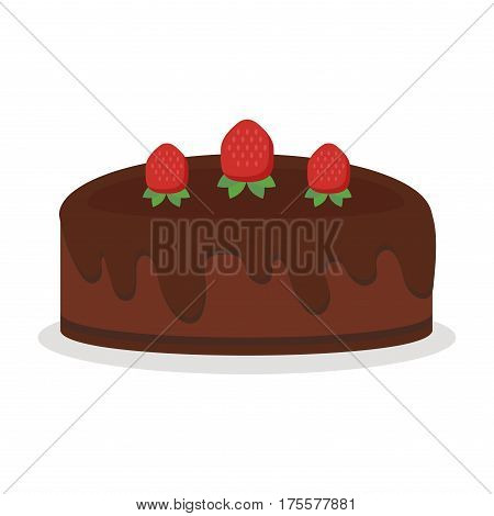 Pie isolated with fruits and chocolate pie isolated. Wedding or birthday cake sweet dessert homemade pie. Chocolate cream brownie cake topped pie isolated with white slice and cream flowers decorated