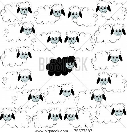 Flock of sheep with black sheep.Vector illustration.