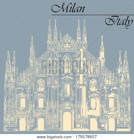 Famous Milan Cathedral ivory color on piazza in Milan Italy. Graphic hand drawing illustration. Vector isolated on a blue background.