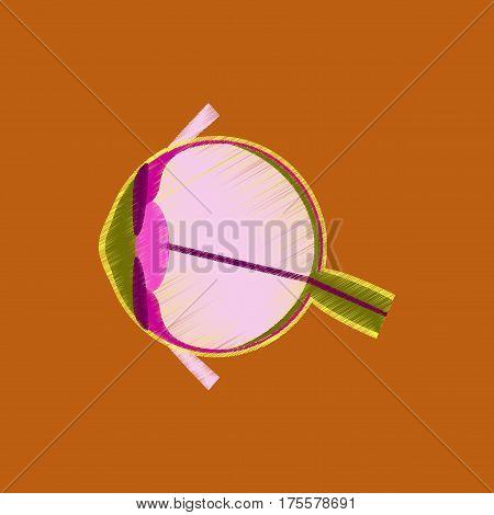 flat shading style icon on orange background eye