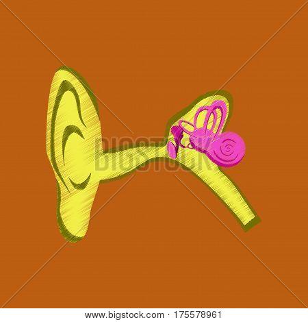 flat shading style icon on orange background ear