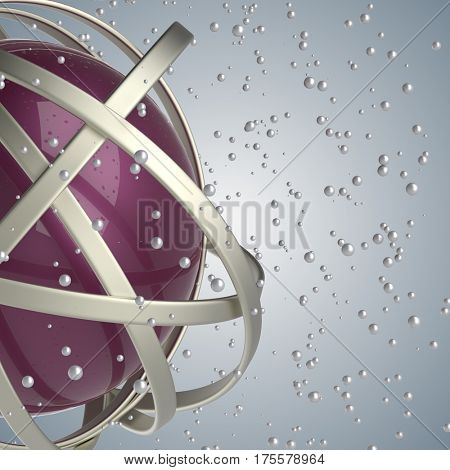 3d abstract. Sphere of multicolored rings in cloud from multicolored drops on gray background