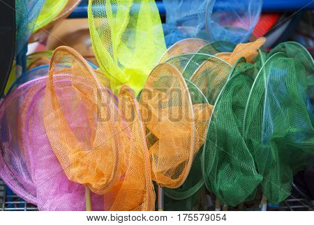 Nets for butterflies bright and colorful background
