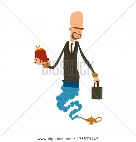 Cartoon business genie with wallet and purse coming out of magic lamp flat vector illustration. Vector cartoon businessman djinn and magic lamp. Character business man flat magic vector.