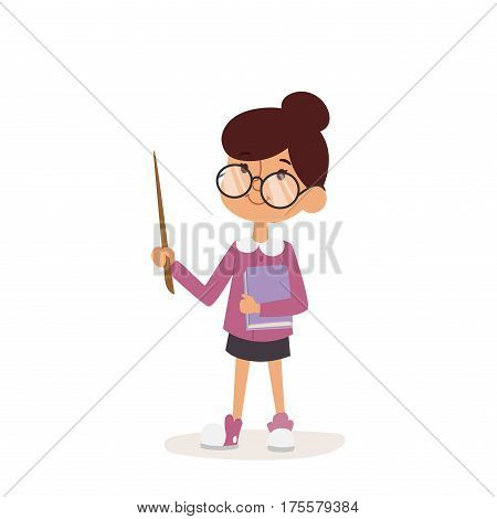Young girl kindergarten teacher teaching vector. Cartoon young girl teacher and young girl teacher character. Young girl teacher happy person with glasses pointer notebook.