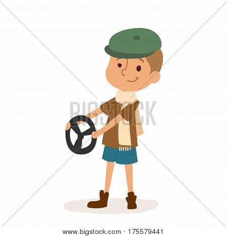 Driver boy with rider and driver funny cartoon boy. Profession driver automobile kid, fun road wheel driving childhood. Rudder cute cartoon vector profession character.