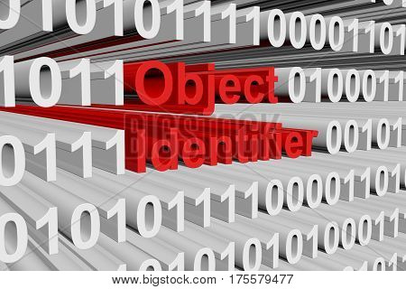 object identifier in the form of binary code, 3D illustration