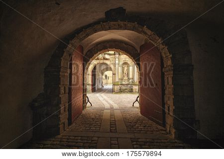 Inside of gateway to Kronborg castle in Denmark