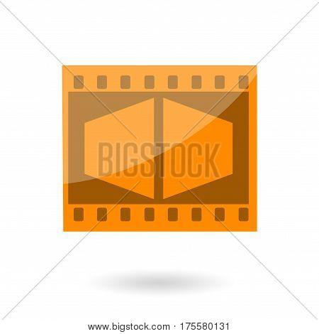 Movie film orange icon isolated on white background