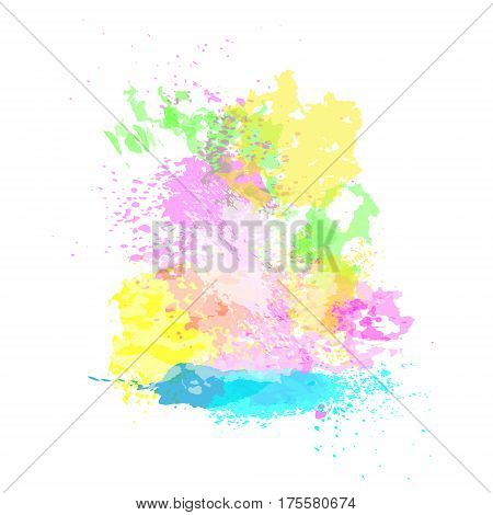 Paint Splash Happy Holi Religious India Holiday Traditional Celebration Greeting Card Flat Vector Illustration