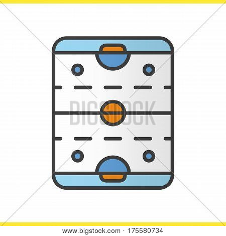 Ice hockey rink color icon. Hockey stadium scheme. Isolated vector illustration