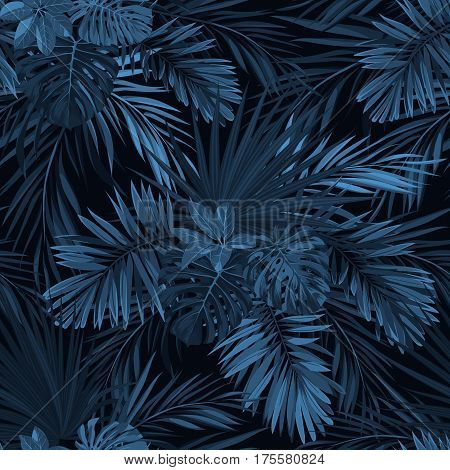 Dark tropical background with jungle plants. Seamless tropical pattern with indigo blue phoenix palm leaves. Vector illustration.