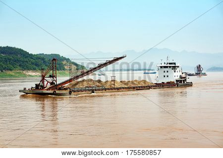 Large dredger in the river China Three Gorges in Chongqing.