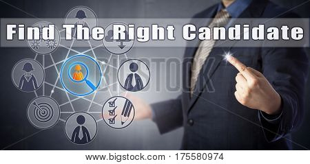 Recruitment manager in blue shirt and business suit urging to Find The Right Candidate. Talent generation management metaphor human resources planning call to action and HR technology tools concept.