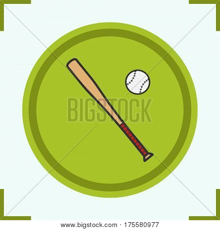 Baseball bat and ball color icon. Softball player's equipment. Isolated vector illustration