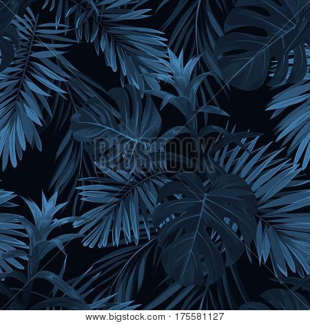 Exotic tropical background with hawaiian plants and flowers. Seamless indigo tropical pattern with monstera and sabal palm leaves, guzmania flowers. Vector illustration.