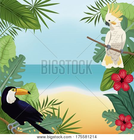 cockatoo and toucan leaves tropical beach vector illustration eps 10