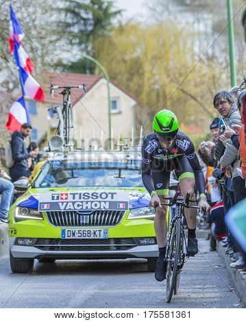 Conflans-Sainte-HonorineFrance-March 62016: The French cyclist Florian Vachon of Fortuneo-Vital Concept Team riding during the prologue stage of Paris-Nice 2016.