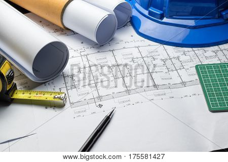 engineering diagram blueprint paper drafting project sketch architecturalselective focus.