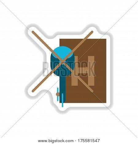 paper sticker on white background Helipad transport