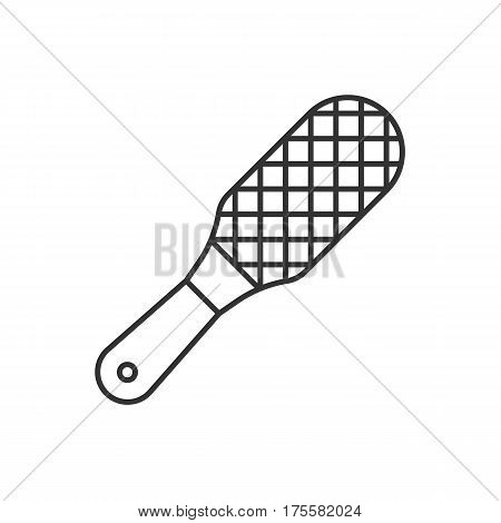 Foot rasp linear icon. Thin line illustration. Foot scrubber contour symbol. Vector isolated outline drawing