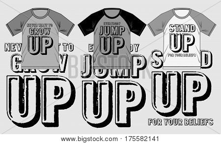 T shirt design with set print typography, Vector.