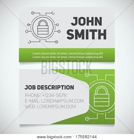 Business card print template with closed lock logo. Easy edit. System administrator. Padlock in microchip pathways. Stationery design concept. Vector illustration