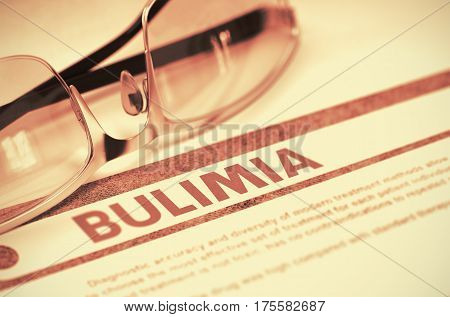Bulimia - Medical Concept with Blurred Text and Specs on Red Background. Selective Focus. 3D Rendering.
