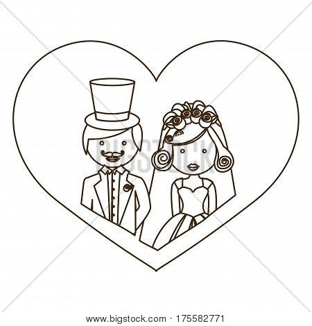 sketch silhouette heart with half body cartoon married couple vector illustration