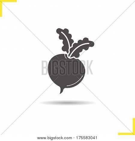 Beet root icon. Drop shadow silhouette symbol. Turnip. Negative space. Vector isolated illustration