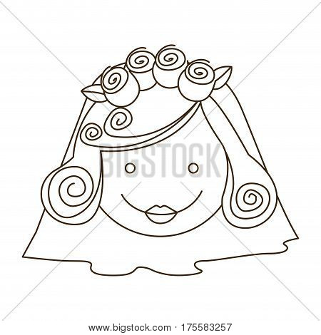 sketch silhouette cartoon face bride with veil vector illustration