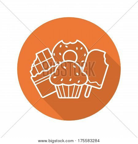 Sweets flat linear long shadow icon. Confectionery. Chocolate bar, doughnut, muffin with raisins, ice cream. Vector line symbol