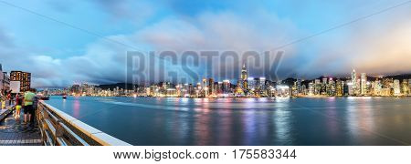 Hong Kong China Victoria Harbor Night City Skyline.