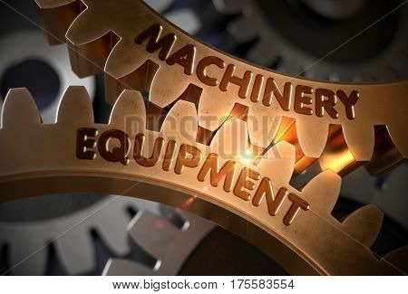 Machinery Equipmenton Golden Metallic Cogwheels. Machinery Equipment on Mechanism of Golden Cog Gears. 3D Rendering.