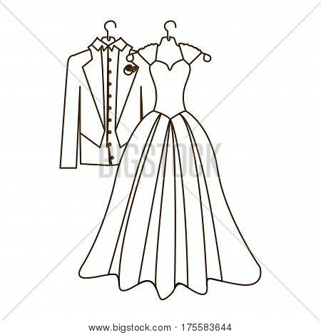 sketch silhouette costume wedding desing vector illustration