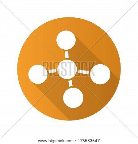 Molecule flat design long shadow icon. Molecular structure model. Vector silhouette symbol