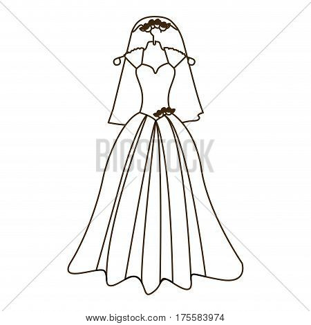 silhouette costume dress and veil bride with roses vector illustration