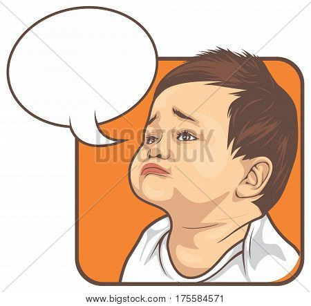 illustration of sad kid with blank bubble talk hoping something. good for meme