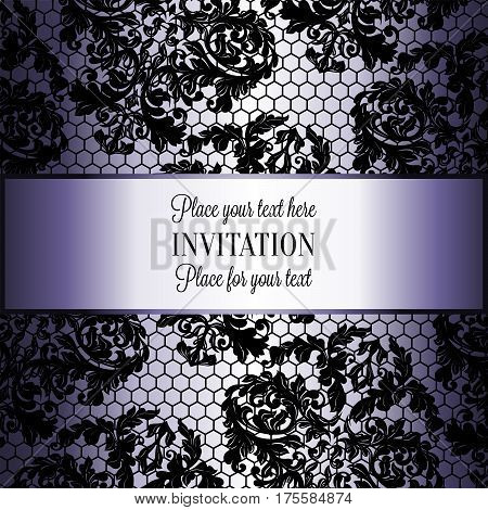 Baroque Background With Antique, Luxury Black Lace And Vintage Frame,victorian Banner, Damask Intric