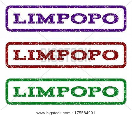 Limpopo watermark stamp. Text tag inside rounded rectangle frame with grunge design style. Vector variants are indigo blue, red, green ink colors. Rubber seal stamp with unclean texture.