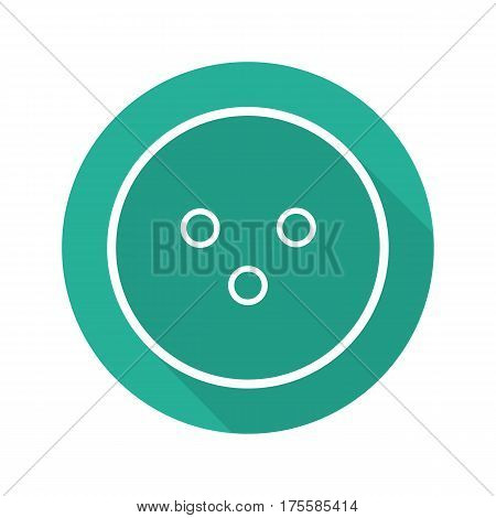 Bowling ball flat linear long shadow icon. Vector line symbol