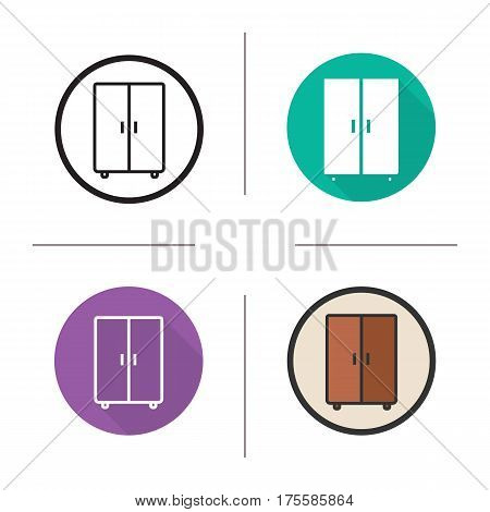 Wardrobe icon. Flat design, linear and color styles. Cabinet. Isolated vector illustrations